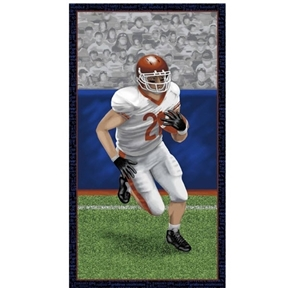 Touch Down Football Player in Action 24x44 Cotton Fabric Panel