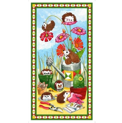 Who Let the Hogs Out Hedgehogs in the Garden 24x44 Cotton Fabric Panel