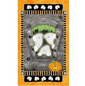 Chills and Thrills Halloween Glow-in-the-Dark Ghost 24x44 Fabric Panel
