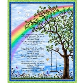 Jesus Loves the Little Children Sunday School Song Cotton Fabric Panel