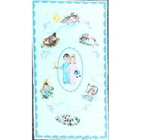 Off to Dreamland Kids and Animals Sleeping 24x44 Cotton Fabric Panel