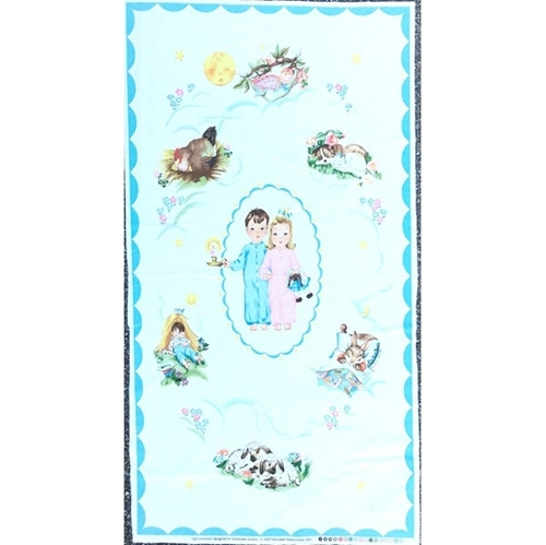 Picture of Off to Dreamland Kids and Animals Sleeping 24x44 Cotton Fabric Panel