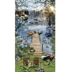 Lakeside Afternoon Scenic Lake Ducks Loons 24x44 Cotton Fabric Panel