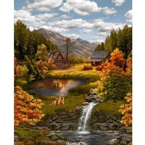 Serene Lake Mountain Cabin Waterfalls Digital Cotton Fabric Panel