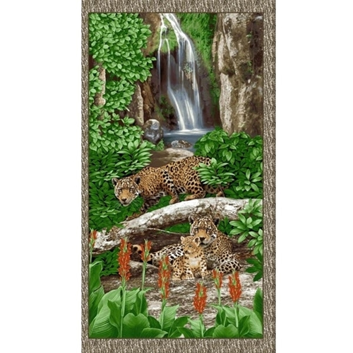 On the Wild Side Leopard Family Waterfall 24x44 Cotton Fabric Panel