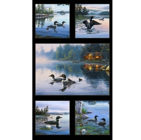 Loons Loon Aquatic Birds Divers on Lake 24x44 Cotton Fabric Panel