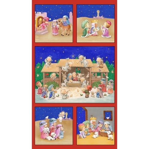 The Little King Childrens Christmas Nativity 24x44 Cotton Fabric Panel