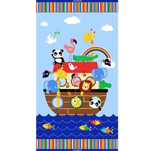 Noahs Ark Cute Animal Rainbow 24x44 Cotton Fabric Panel