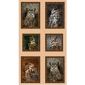 Nocturnal Wonders Great Horned Owl Picture Patches 24x44 Fabric Panel