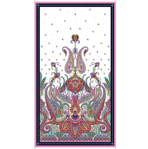 Imperial Paisley Colorful Design on White 24x44 Cotton Fabric Panel