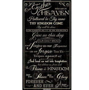 Picture of The Lord's Prayer Religious Our Father Black 24x44 Cotton Fabric Panel