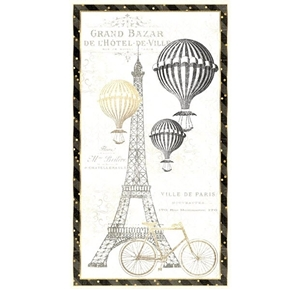 Picture of Tres Graphique Paris Eiffel Tower Travel 24x44 Cotton Fabric Panel