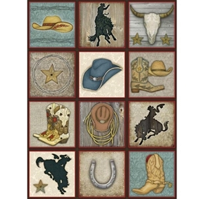 Rodeo Roundup Cowboy Patch Hats Boots 24x44 Cotton Fabric Panel