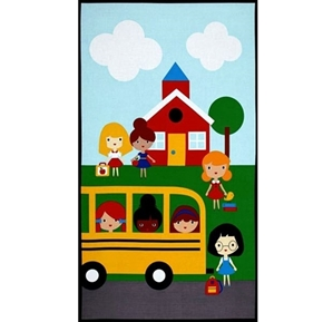 Back To School 2 School Bus School House 24x44 Cotton Fabric Panel