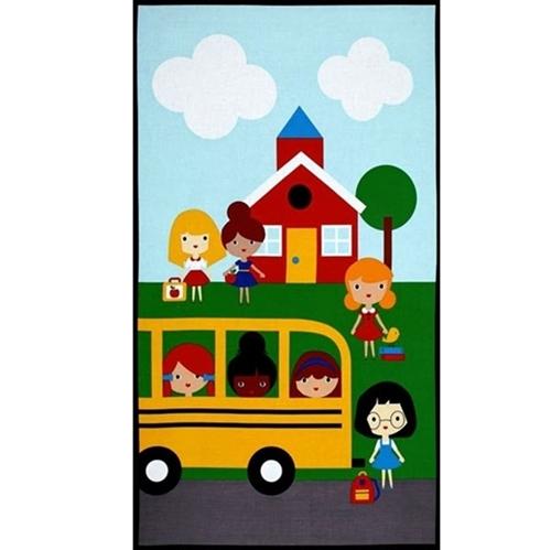 Back To School 2 School Bus School House 24x44 Cotton Fabric Panel