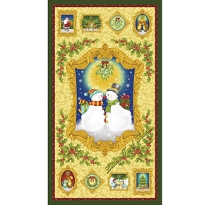 Mistletoe Snowman Holiday Romance Christmas 24x44 Cotton Fabric Panel