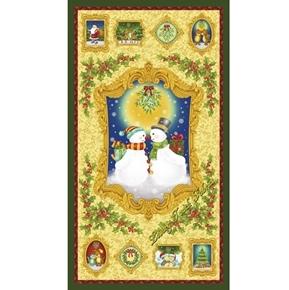 Mistletoe Snowman Holiday Romance Christmas 24x44 Cotton Fabric Panel