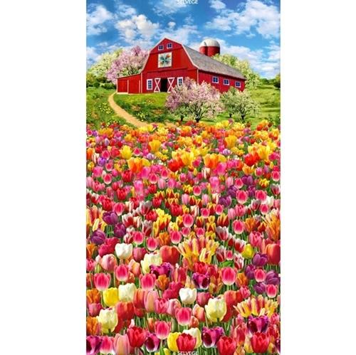 Tulip Farm Flowers Barn and Tulips 24x44 Cotton Fabric Panel