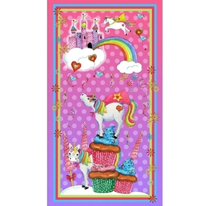 Party Like A Unicorn Cupcakes Castle Pink 24x44 Cotton Fabric Panel