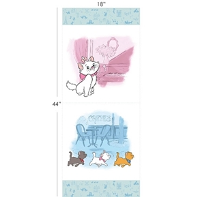 Disney The Aristocats 17 1/2 x 44 Cotton Fabric Pillow Panel Set