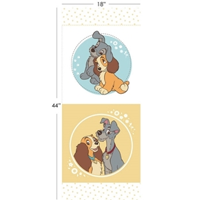 Disney Lady and the Tramp 17 1/2 x 44 Cotton Fabric Pillow Panel Set
