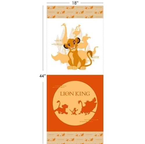 Disney The Lion King Orange 17 1/2 x 44 Cotton Fabric Pillow Panel Set