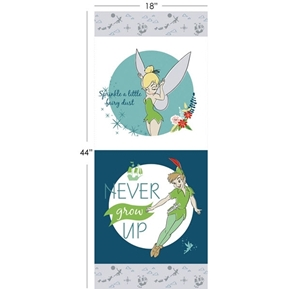 Disney Peter Pan Neverland 17 1/2 x 44 Cotton Fabric Pillow Panel Set