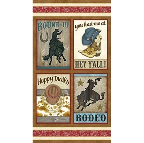 Rodeo Roundup Cowboy Happy Trails 24x44 Cotton Fabric Pillow Panel Set