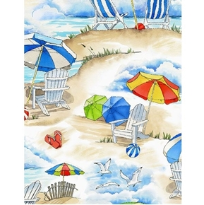 Beach Scene Beach Chairs Umbrellas Sand Seagulls Cotton Fabric