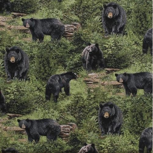 Born Free Bears Wild Black Bear Grass and Rocks Cotton Fabric