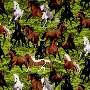 Horse Play Black Brown and White Horses in the Grass Cotton Fabric