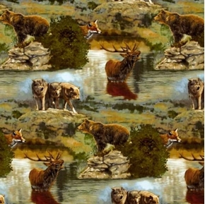 Nature Studies Wild Animals Wolves Foxes Elk Bears Cotton Fabric