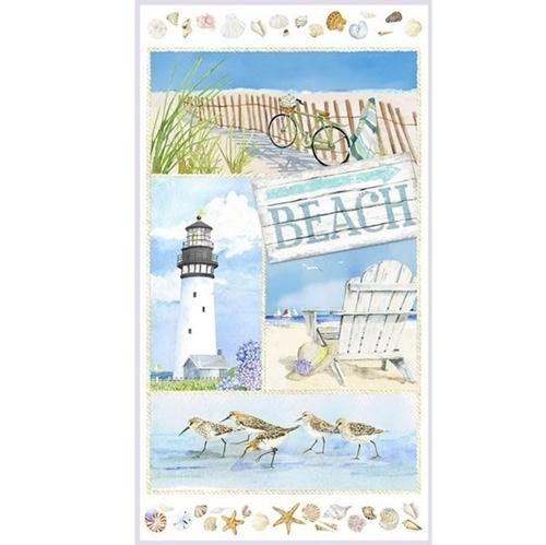 Coastal Paradise Beach Lighthouse Shell 24x44 Cotton Fabric Panel