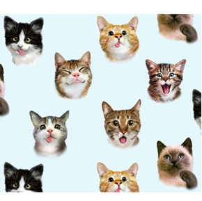Pet Selfies Cats Silly Cat Faces Blue Kitten Selfie Cotton Fabric