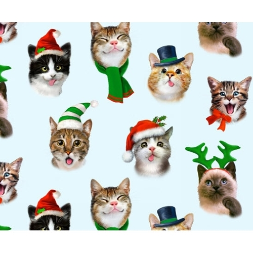 Christmas Pet Selfies Silly Holiday Cats Kittens Blue Cotton Fabric