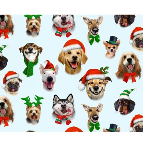 Christmas Pet Selfies Silly Holiday Dogs Puppies Blue Cotton Fabric