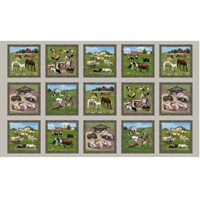Farm Animals Horse Goat Sheep Blocks 24x44 Sepia Cotton Fabric Panel