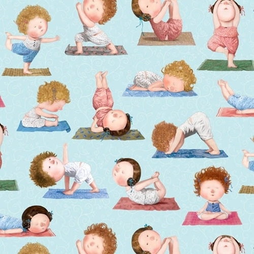 Picture of On a Path to Harmony Yoga Positions Women on Blue Cotton Fabric