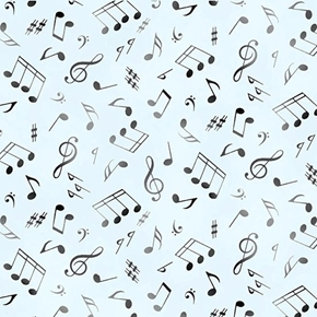 Jazz Music Black Musical Notes on Blue Cotton Fabric