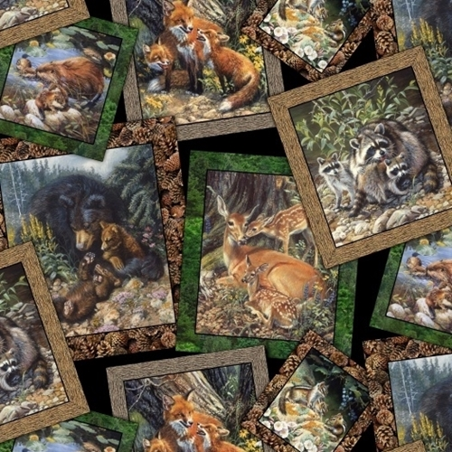 Picture of Woodland Families Wild Animal Family Photos Fox Bear Cotton Fabric