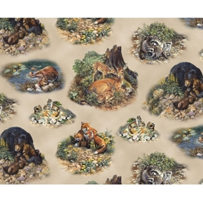 Woodland Families Wild Animal Family Vignettes Fox Bear Cotton Fabric
