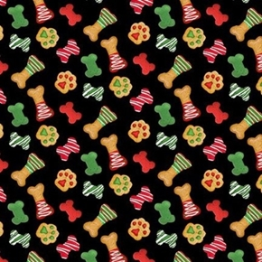 Picture of Fireside Pups Holiday Dog Treats Christmas Biscuits Cotton Fabric