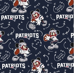 NFL Football New England Patriots Mickey Mouse Disney Cotton Fabric