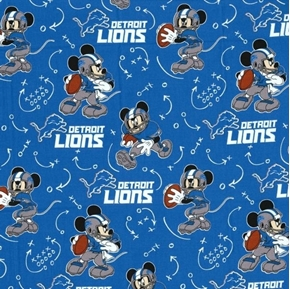 NFL Football Detroit Lions Mickey Mouse Disney Mash-up Cotton Fabric