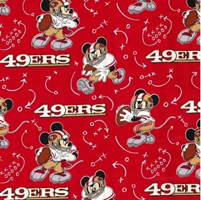 NFL Football San Francisco 49ers Mickey Mouse Disney Cotton Fabric