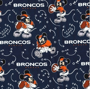 NFL Football Denver Broncos Mickey Mouse Disney Mash-up Cotton Fabric
