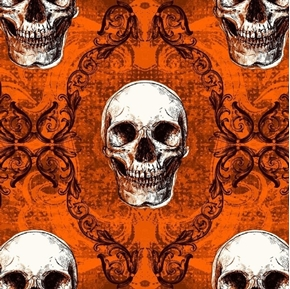 Halloween Spooky Skulls Seasonal Basics Orange Skull Cotton Fabric