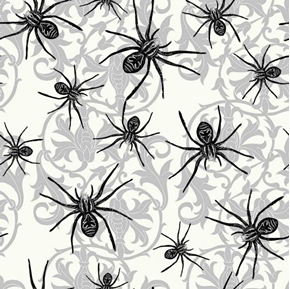Halloween Sophisticated Spiders Black Spider Damask Cotton Fabric