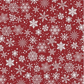 First Snow Seasonal Basics White Snowflakes Red Winter Cotton Fabric