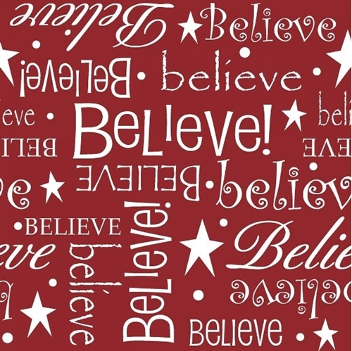 Picture of Christmas I Believe Seasonal Basics White Words on Red Cotton Fabric